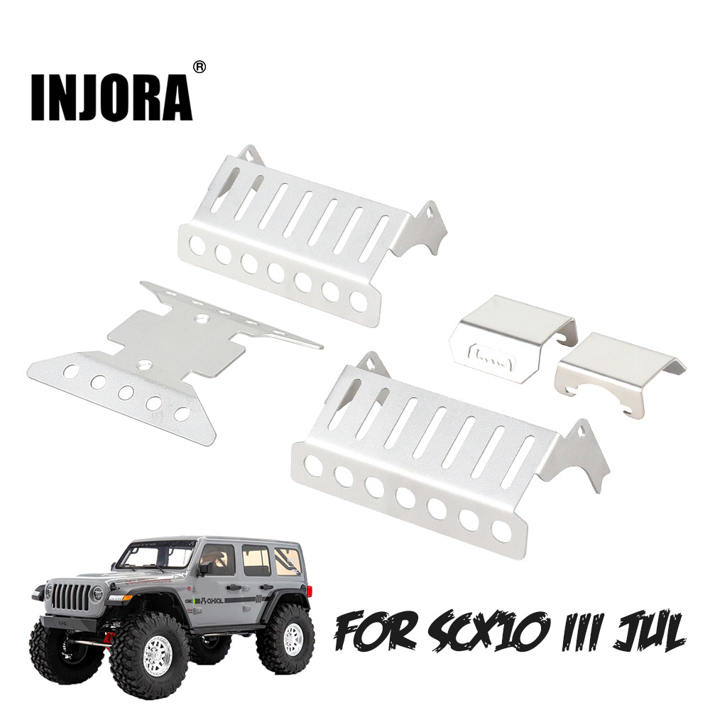 INJORA 5PCS Stainless Steel Axle Protector Chassis Armor Skid Plate For RC Crawler Axial SCX10 III AXI03007 Upgrade Parts