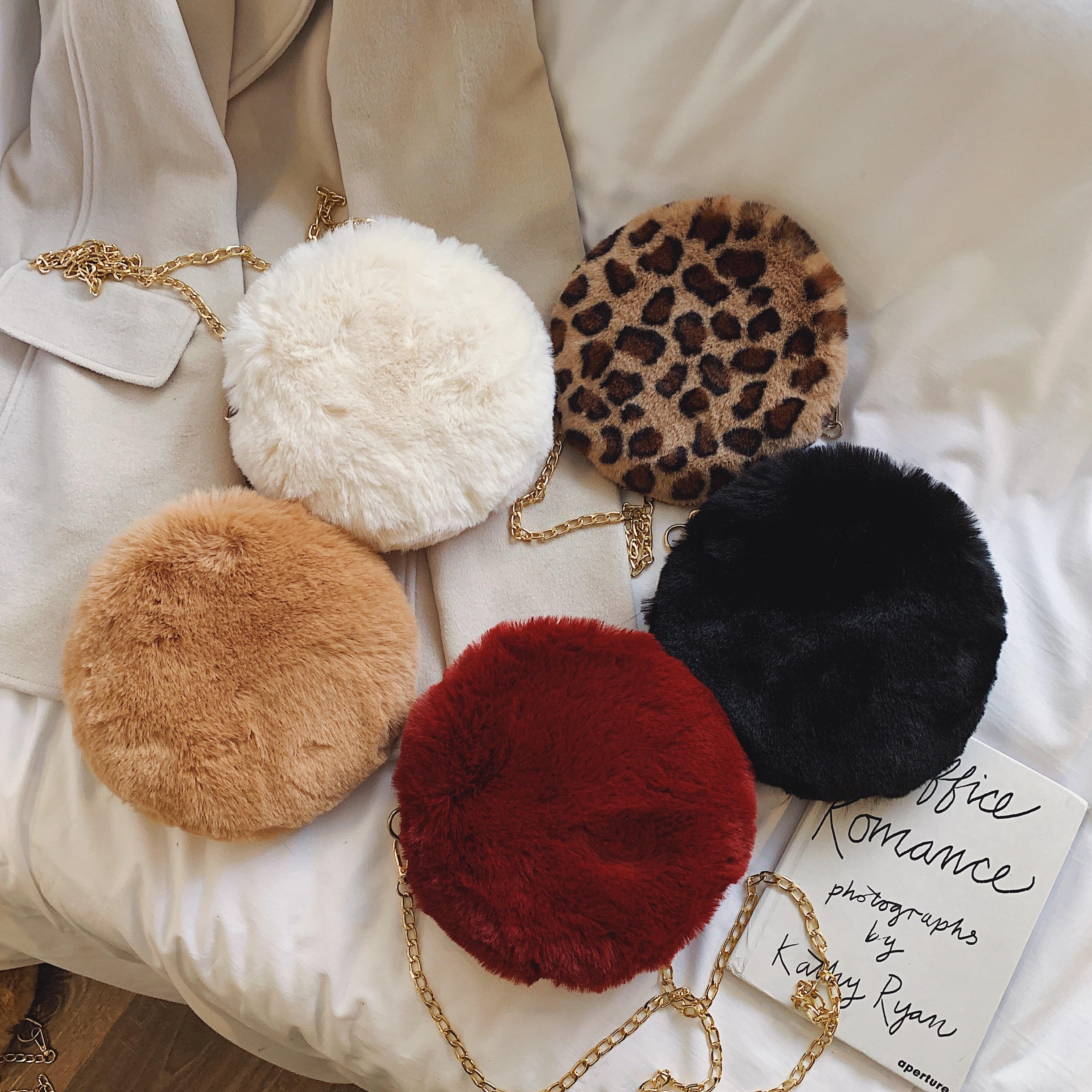 Fashion Round Shoulder Bag Winter Hot Leopard Plush Handbags Soft Fur Bag Metal Chain Mini Coin Purse Cute Hand Warm Bag Clutch