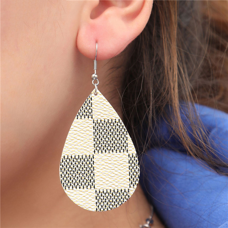 New Teardrop Genuine Leather Earrings For Women Fashion Vintage Statement Leaf Drop Earrings Valentines Day Jewelry 2019 серьги