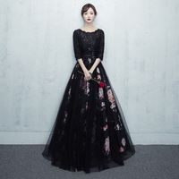 Black Woman Party Dress O Neck Floor Length Evening Cheongsam Elegant Qipao Wedding Prom Long Gown Retro Vestido XS XXXL
