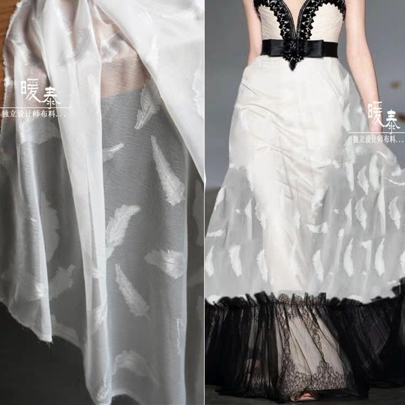 Feather Chiffon Tulle Fabric White Perspective DIY Patchwork Hanfu Stage Decor Gown Skirt Wedding Dress Lace Designer Fabric