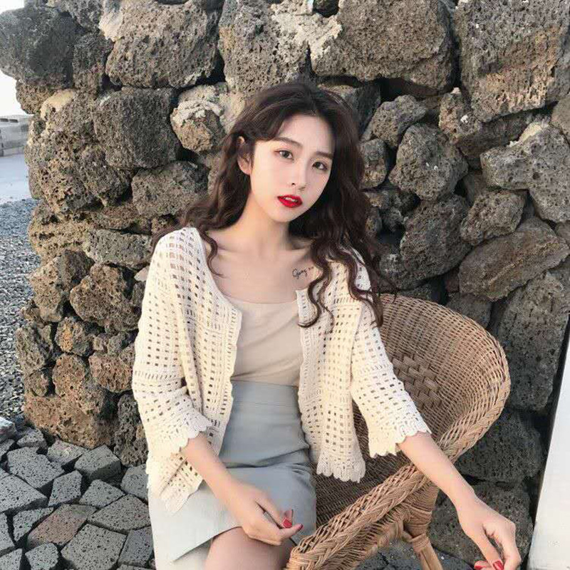 Women Cardigan Bell Sleeve Knitted Tops Sweater Loose Casual Knit Coat Pullover