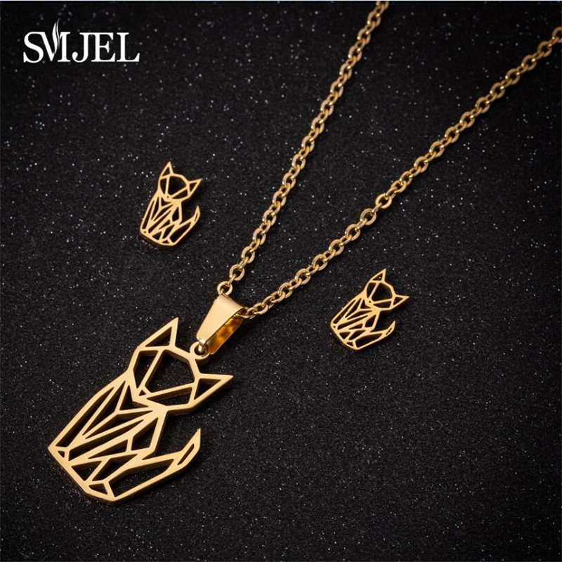 SMJEL Stainless Steel Womens Necklace Origami Love Cat Dog Leaf Geometric Earrings Necklaces Statement Jewelry Sets Girls Gift