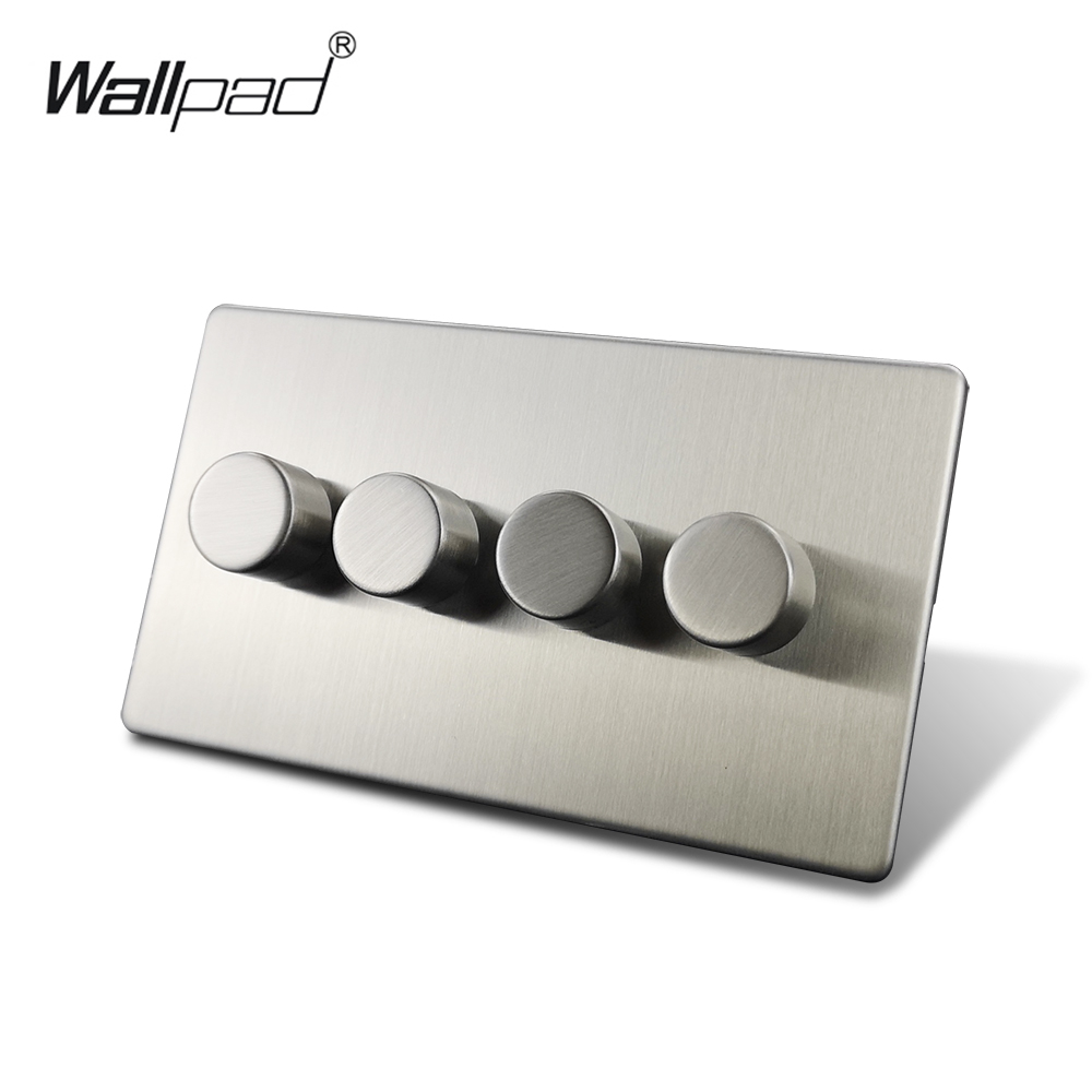 Wallpad Silver 3 Gang 2 Way 3 Buttons LED Dimmer Switch Satin Chrome Push On Off Stainless Steel Panel Metal Button