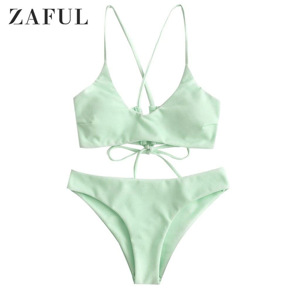 ZAFUL Sexy Cross Back Plaited Cami Bikini Set Women Bandage Swimsuit Bathing Suit Summer Spaghetti Straps Swimwear Biquinis New|Bikini Set|   - AliExpress