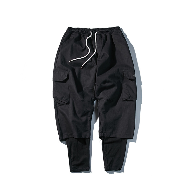 Luoye Luo Ye 2019 Autumn New Style Men Loose-Fit Mock Two-Piece Workwear Casual Pants Unisex Slacks K211