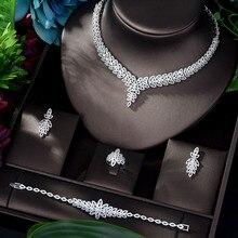 Hybride de luxe, ensemble de 4 pièces, bijoux scintillants en cristal scintillant pour mariée, accessoire de mariage, Date cadeau reine, BijouN 1159