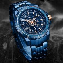 NAVIFORCE Роскошные Брендовые мужские спортивные часы, синие полностью Стальные кварцевые часы, мужские водонепроницаемые военные часы с датой, мужские часы