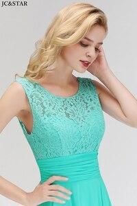 Image 3 - Vestido madrinha new lace chiffon Scoop ALine turquoise bridesmaid dress long vestidos invitada boda mujer cheap robe de mariee