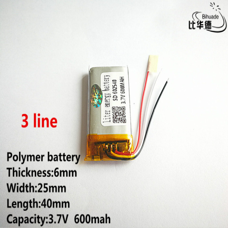 10 шт/лот 3 линии хорошего качества 3,7 в, 600 мАч, 602540 полимерный литий-ионный/литий-ионный аккумулятор для игрушек, банка питания, gps, mp3, mp4