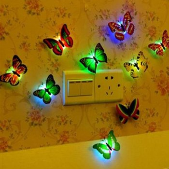 Creative Colorful LED Butterfly Night Light 3D Stereo Simulation Butterfly Wall Stickers Wall Decoration LED Night Light Lamp image