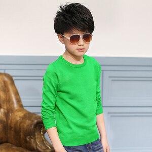 Image 2 - 2020 ربيع الأطفال ملابس الأولاد البلوزات الصلبة السببية كم طويل الخامس الرقبة الصبي رقيقة محبوك البلوزات للبنين كبير الاطفال القمم