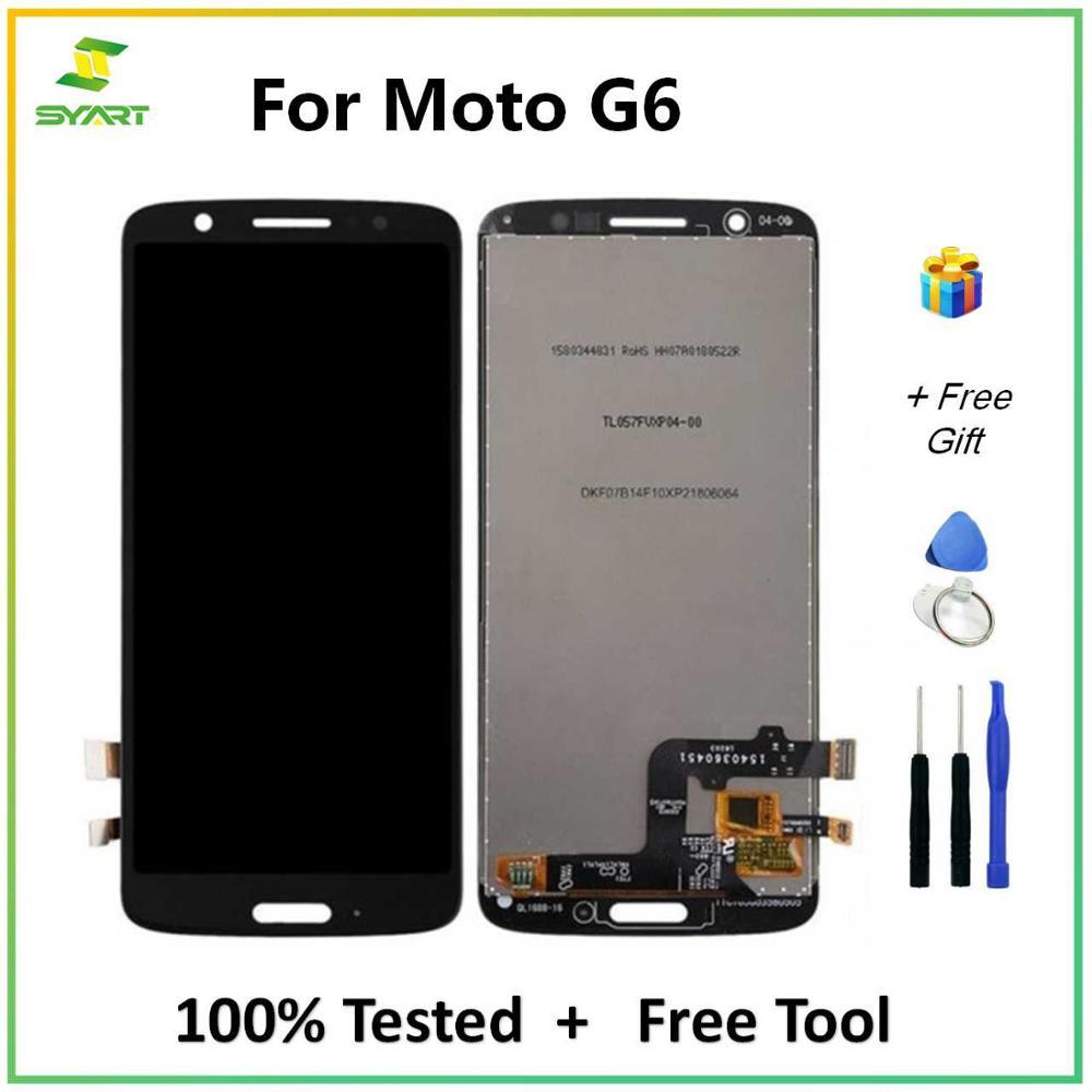 Para motorola g6 display lcd touch screen digitador assembléia peças de reposição + ferramentas para moto g6 xt1925 5.7