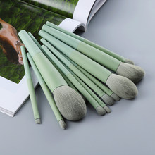 FLD 11/8pcs Natural Hair Green Makeup Brushes Foundation Powder Eyeshadow Eyebrow Brush Set Cosmetic Tool Profesional Maquillaje