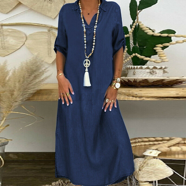Summer Denim Dress For Women 2021 Casual Spring Blue  V-Neck Half Sleeve Maxi Dresses Plus Size Split Long Dresses Vestidos 5XL 1