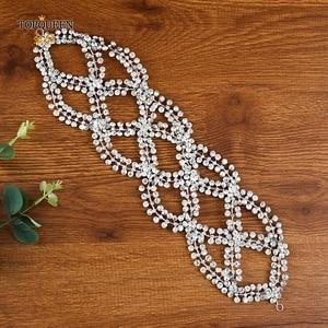 Image 5 - TOPQUEEN Luxury Bride Headband Wedding Headdress Pamelas and Headgear for Weddings Rhinestone Wedding Tiara Fast Delivery HP243