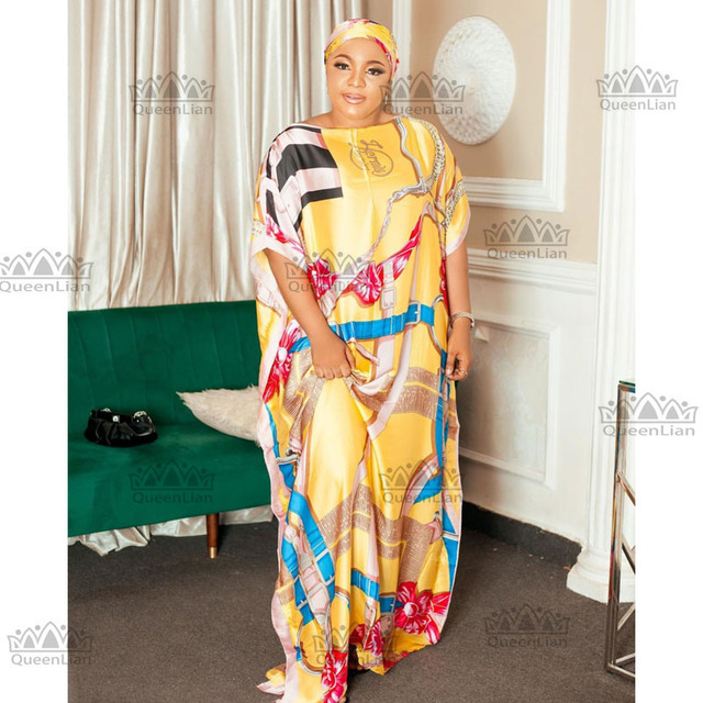 African Dashiki Traditional Party Dress with Scarf For Lady 2