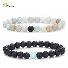 3UMeter Amazonite Stone Bracelet Natural Lava Rock Diffuser Amazon Mala Beads Bracelets Jewelry For Couple