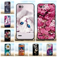 купить FOR LG Q6 Case Cover Soft TPU Silicone Black Shell FOR LG Q6 Alpha M700/ Q6 Plus X600 Case 3D Flower Cute FOR Coque LG Q6A Cases дешево