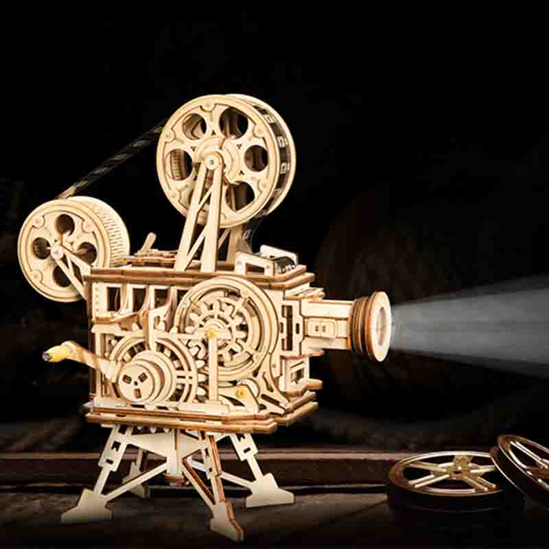 183pcs Vintage Diy 3D Hand Crank Film Projector Wooden Puzzle Game Assembly Vitascope Toy Gift for Children Adult