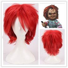 Film gelin tıknaz Annabelle 2: oluşturma Cosplay peruk kırmızı kısa sentetik saç cadılar bayramı rol oynamak saç + ücretsiz peruk kap