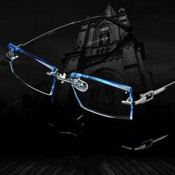 Männer Brille Titan Randlose Brillen Myopie Männlichen Business Rezept Glas Progressive Linsen Optische Rahmen Brillen Klar