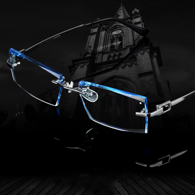 Férfi szemüveg titán, perem nélküli szemüveg myopia férfi üzleti vényköteles üveg progresszív lencsék optikai keretek tiszta szemüveg