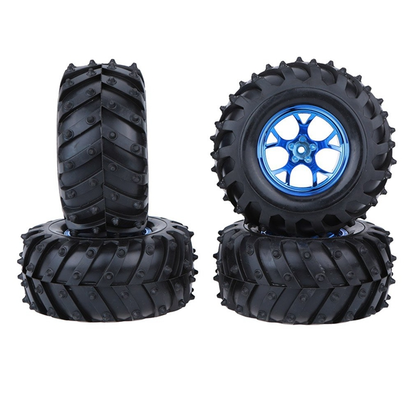 4Pcs/<font><b>Set</b></font> 12mm Drive Hex Monster Truck Tire Tyres Rim <font><b>Wheel</b></font> for <font><b>RC</b></font> 1/10 Scale Models Traxxas HSP Tamiya HPI Kyosho <font><b>RC</b></font> Model Car image