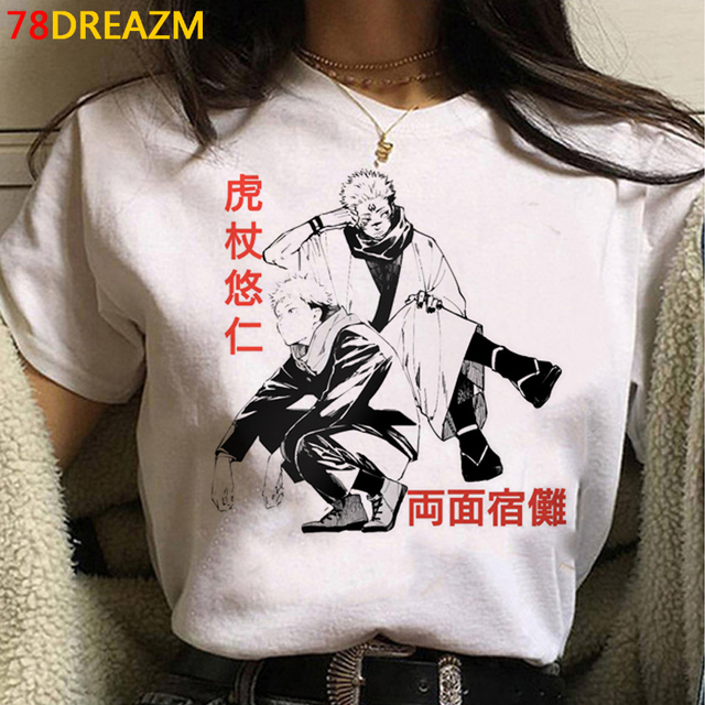 Jujutsu Kaisen Gojo Satoru Yuji Itadori summer top men streetwear print japanese kawaii white t shirt top tees couple clothes 4