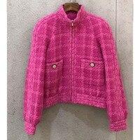 Cosmicchic 2019 Autumn Winter Runway Tweed Two Piece Set Violet Retro Fashion Stand Collar Long Sleeve Jackets Cloak Short Coat