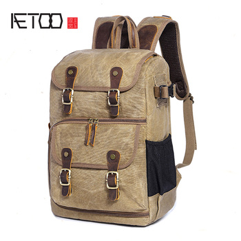 AETOO New photography backpack waterproof large capacity wax dye canvas backpack outdoor camera bag