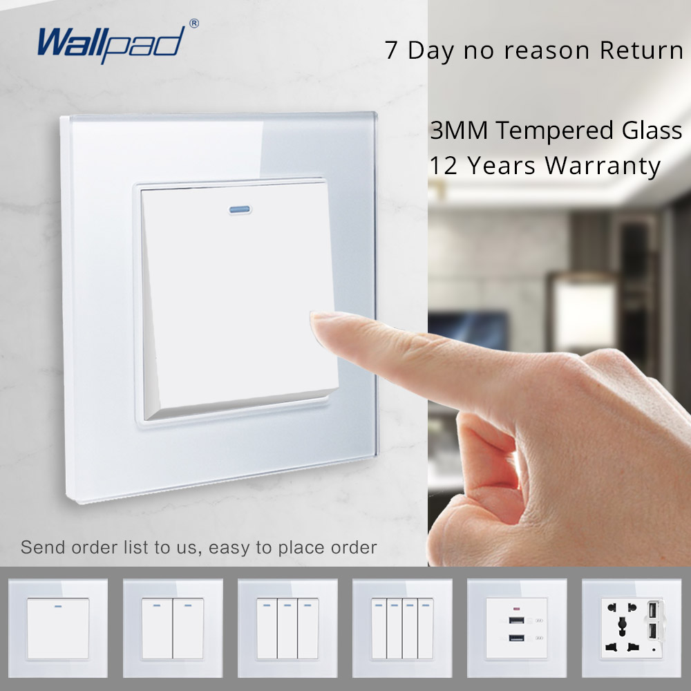 Wallpad Switch and Socket Set Wall Switch Luxury White Crystal Tempered Glass Panel 86*86mm AC110-250V