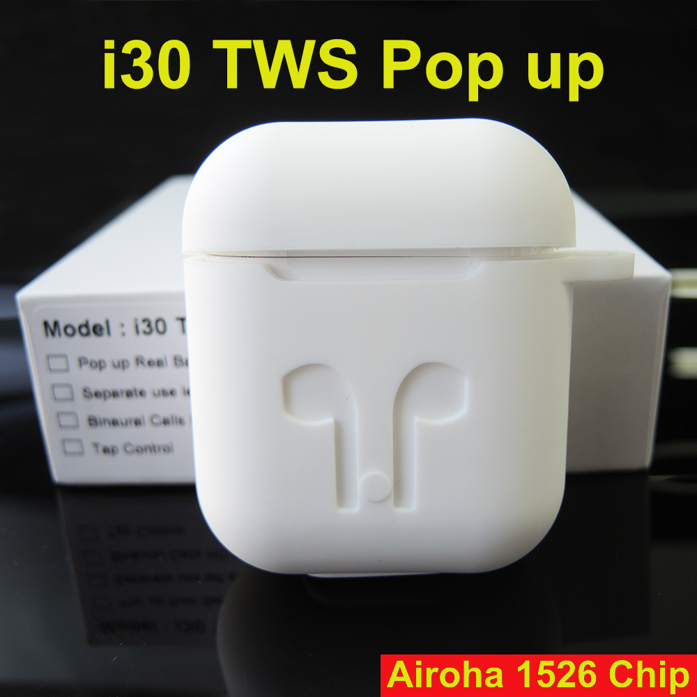 i30 TWS bluetooth earphone tws Wireless Earbuds earphones PK w1 chip i10 i12 i60 i100 tws pop up 1:1 mini size bluetooth headset
