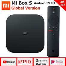 Xiaomi Mi Box S 4K TV Box WiFi BT4.2 Android 8.1 Cortex A53 Quad Core 64 bit Mali 450 1000Mbp 2GB+8GB HDMI 2.0