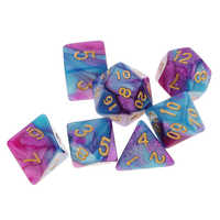 7 Pieces Polyhedral Dice Set D20 D12 D10 D8 D6 D4 Dices for RPG Board Game Party Supplies