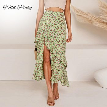 WildPinky Bohemian Black Ruffle Hem Wrap Floral Print Skirts Women Summer Elastic High Waist Ladies Irregular Long Skirt Female cartoon goose print ruffle hem cami dress