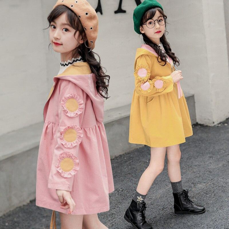 Тренчи для девочек подростков; Длинная ветровка; детская одежда; Новинка 2019 года; модная куртка с капюшоном и цветочным принтом для девочек; школьные наряды