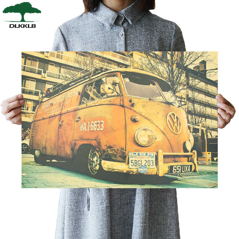 DLKKLB Classic Retro Poster Volkswagen Car Vintage Bar Cafe Art Home Decorative Painting Living Room Bedroom Wall Sticker