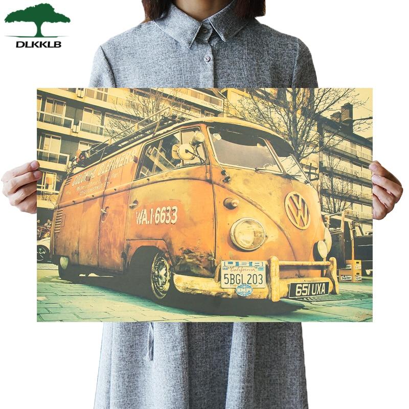DLKKLB Classic Retro Poster Volkswagen Car Vintage Bar Cafe Art Home Decorative Painting Living Room Bedroom Wall Sticker