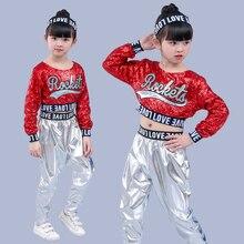 Red Girl Jazz Dance Children Sequin Hip Hop Dance Costume Sparkly Stage Jazz Dance Costumes Suit Girls Crop Top and Pants