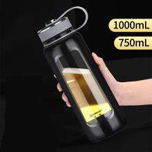 лучшая цена Large Capacity Glass Water Bottle 750ml/1000ml with Stainless Steel Tea Infuser Filter Double Wall Sport Drinkware Custom Logo