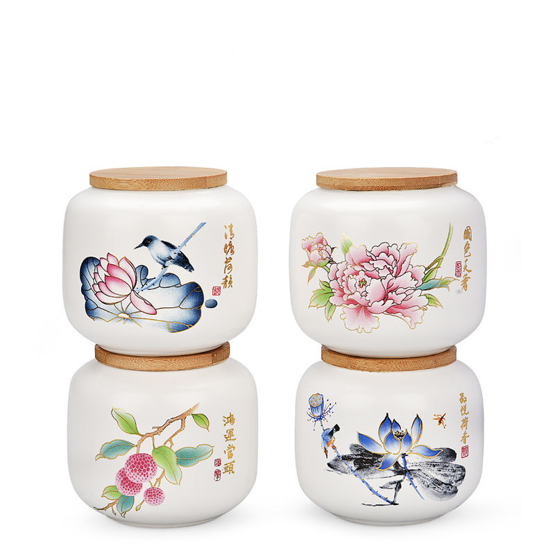 24 Colors Chinese Ink Style Tea Box With Lid Green Tea Storage Cans Candy Stash Jar Office Home Coffee Container Box Porcelain