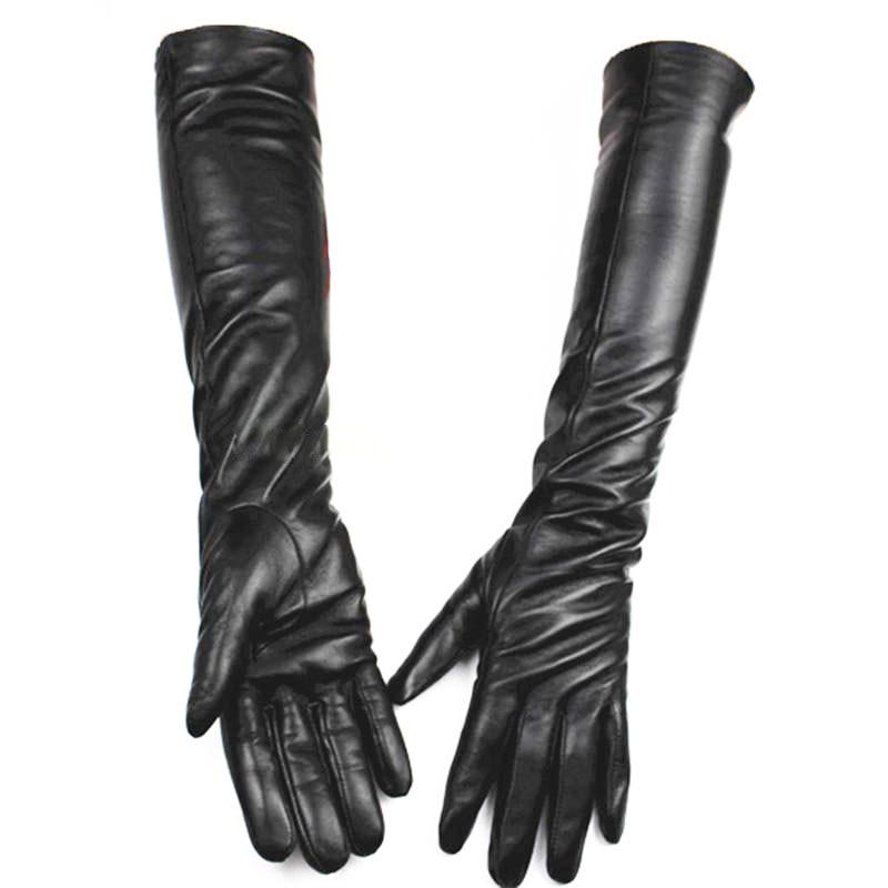 Duge kožne rukavice Ženski dodirni ekran Crna ovčja koža preko - Pribor za odjeću - Foto 2