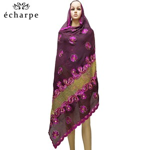 Image 2 - Neue Afrikanische Muslimischen bestickt frauen baumwolle schal wirtschaftlich, baumwolle große größe dame schal für schals EC200
