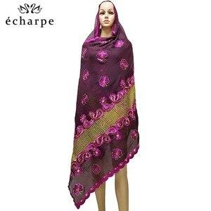 Image 2 - Nieuwe Afrikaanse Moslim Geborduurde Vrouwen Katoenen Sjaal Zuinig, Katoen Big Size Lady Sjaal Voor Sjaals EC200