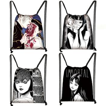 Horror manga drawstring bag Junji Ito women men storage bag Jorogumo / slug girl canvas backpack travel bags teenager bookbag