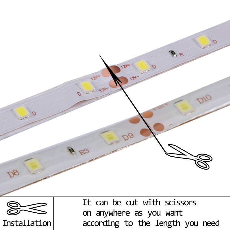 SMD 2835 DC12V RGB LED Strip Light 1M 2M 3M 4M 5M Tidak Tahan Air LED lampu RGB LED Pita Fleksibel Diode Pita