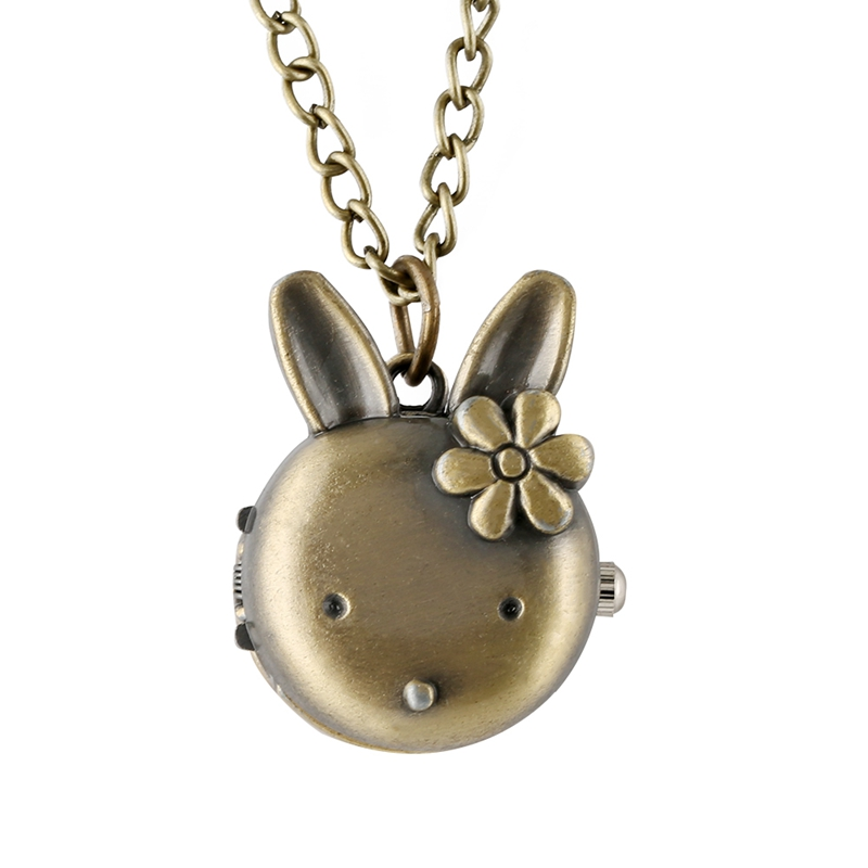 Lovely Rabbit Shape Flower Pocket Watch For Girls Retro Bronze Classic Full Hunter Pendant Chain Necklace Watch Toy For Children