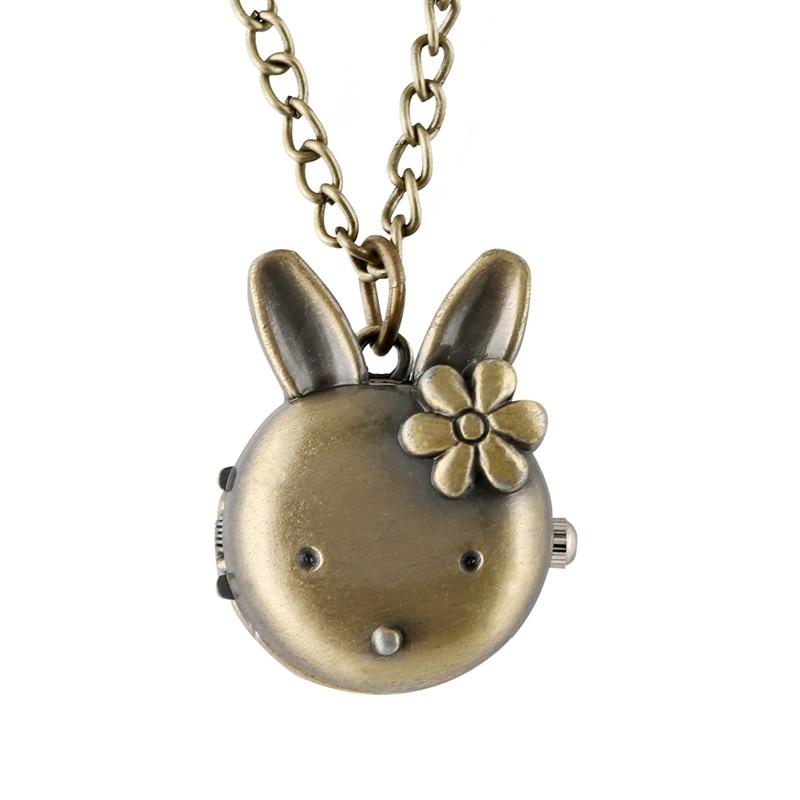 Lovely Rabbit Shape Flower Pocket Watch For Girls Retro Bronze Classic Full Hunter Pendant Chain Necklace Watch Toy For Children