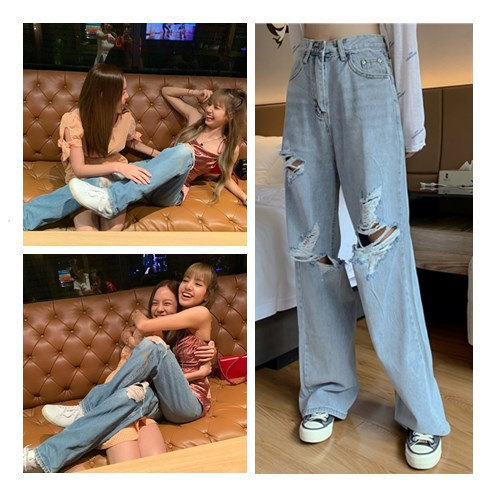 Kpop Blackpink Lisa Same Korean Fashion Broken Holes Slim High Waist Jeans Women Summer Streetwear Loose Wild Wide Leg Jeans